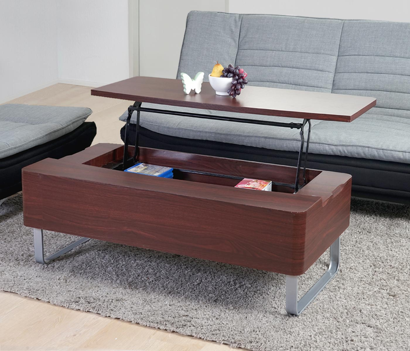 couchtisch roman wohnzimmertisch ausklappbar mit stauraum ebay. Black Bedroom Furniture Sets. Home Design Ideas