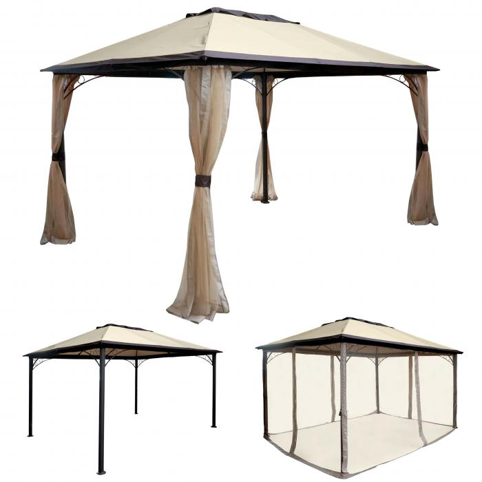 pergola hwc c44 garten pavillon stabiles 7cm alu gestell mit moskitonetz 4x3m. Black Bedroom Furniture Sets. Home Design Ideas