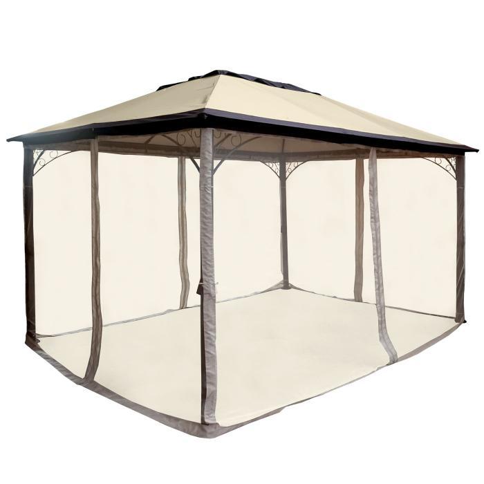 pergola hwc c44 garten pavillon stabiles 7cm alu gestell mit moskitonetz 4x3m. Black Bedroom Furniture Sets. Home Design Ideas