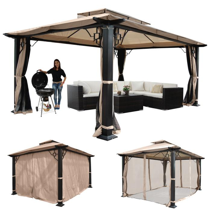 pergola mira garten pavillon 12cm luxus alu gestell mit seitenwand moskitonetz 4 5x3 5m. Black Bedroom Furniture Sets. Home Design Ideas