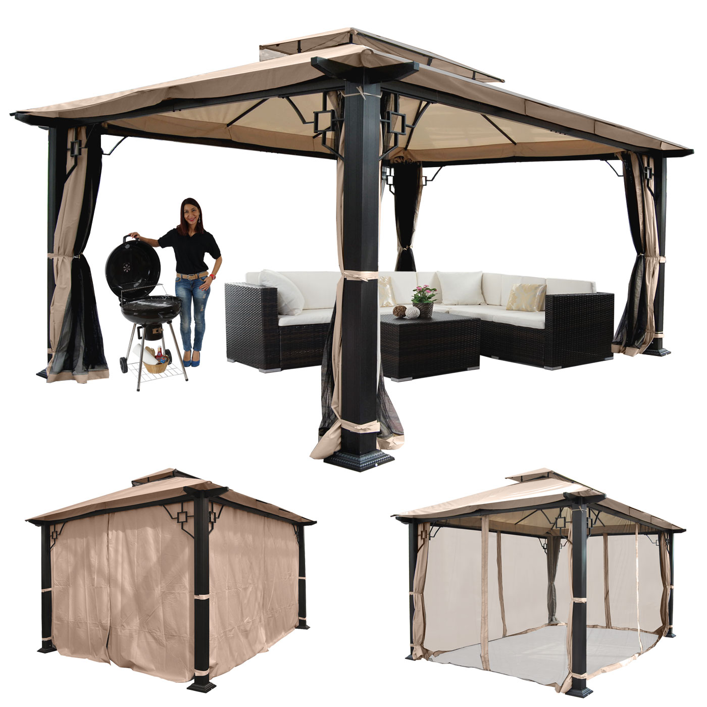 pergola mira garten pavillon 12cm luxus alu gestell mit seitenwand moskitonetz 4 5x3 5m. Black Bedroom Furniture Sets. Home Design Ideas