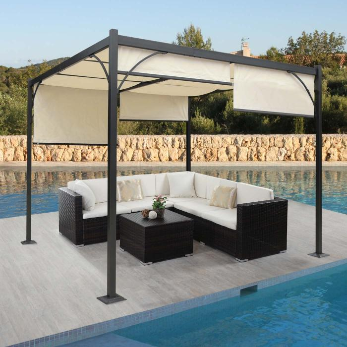 pergola granada garten pavillon terrassen berdachung stabiles 6cm alu gestell schiebedach 3x3m. Black Bedroom Furniture Sets. Home Design Ideas