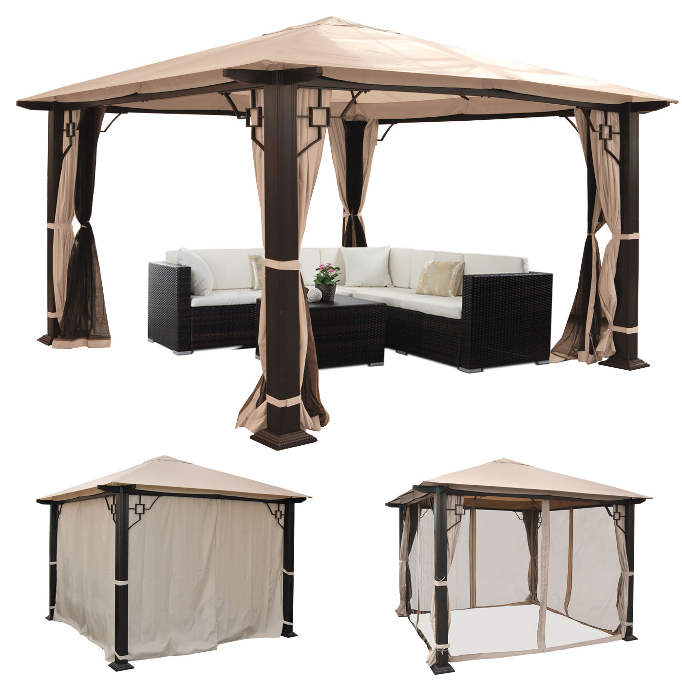 pergola mira garten pavillon 12cm luxus alu gestell mit. Black Bedroom Furniture Sets. Home Design Ideas