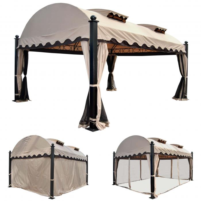 pergola daroca garten pavillon 10cm luxus alu gestell mit seitenwand moskitonetz 4 5x3 5m. Black Bedroom Furniture Sets. Home Design Ideas
