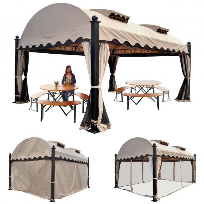 Pergola Daroca, Garten Pavillon, 10cm Luxus-Alu-Gestell mit ...