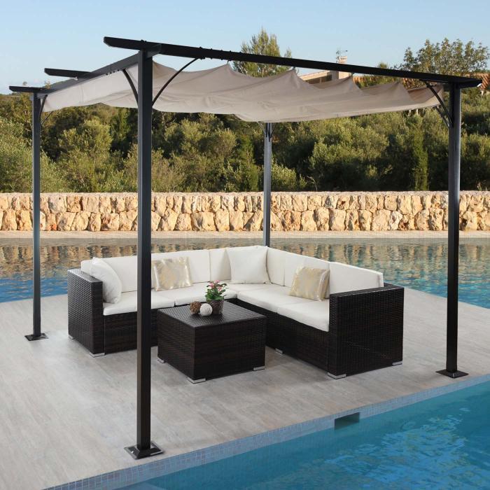 pergola hwc c42 garten pavillon stabiles 6cm gestell schiebedach 3x3m creme. Black Bedroom Furniture Sets. Home Design Ideas