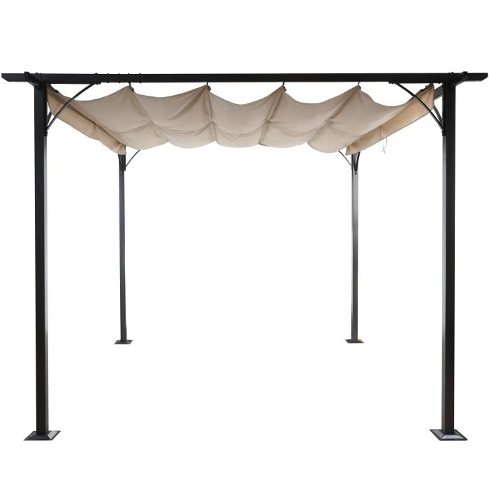 pergola hwc c42 garten pavillon stabiles 6cm gestell schiebedach 3 5x3 5m creme. Black Bedroom Furniture Sets. Home Design Ideas
