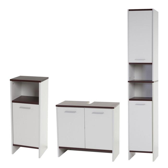 Badezimmer Set Arezzo, Waschbeckenunterschrank Hochschrank Kommode ~ Weiß,  Böden Braun