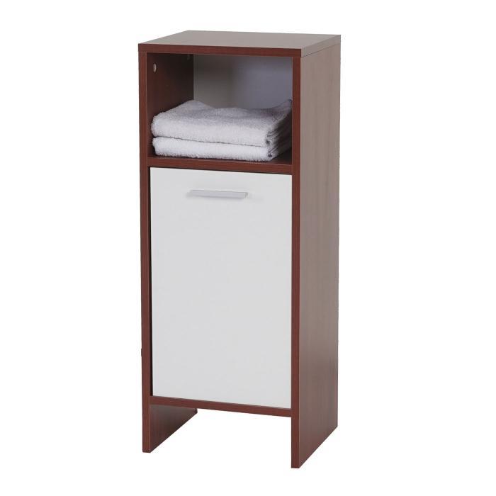 Kommode Arezzo, Badezimmerkommode Badschrank, 82x32x28cm ~ Braun, Türen Weiß