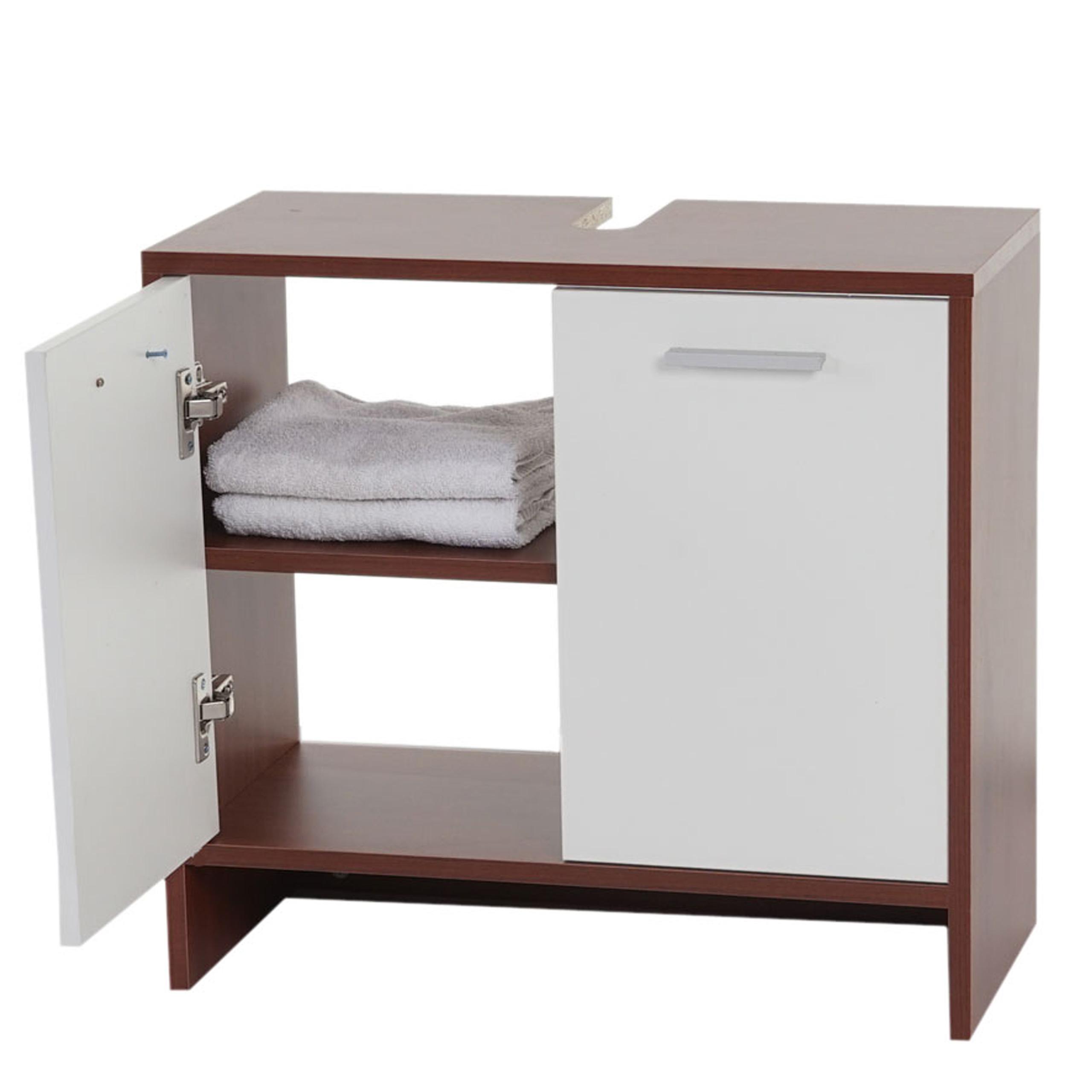 waschbeckenunterschrank arezzo badschrank 56x60x28cm braun t ren wei. Black Bedroom Furniture Sets. Home Design Ideas
