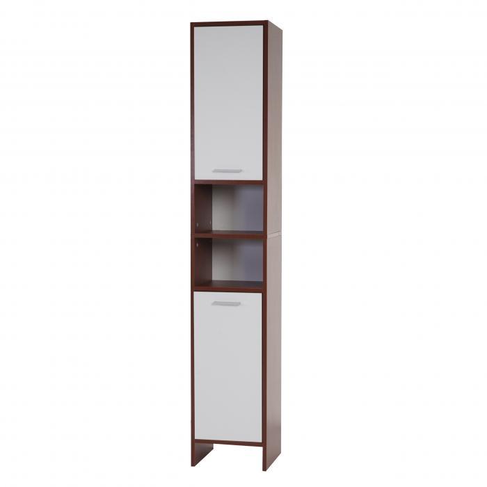 Hochschrank Arezzo, Badschrank, 179x32x28cm ~ braun, Türen weiß