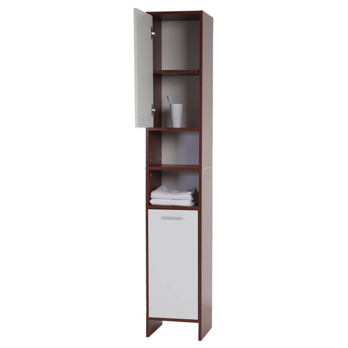 Arezzo, Badschrank, 179x32x28cm ~ braun, Türen weiß