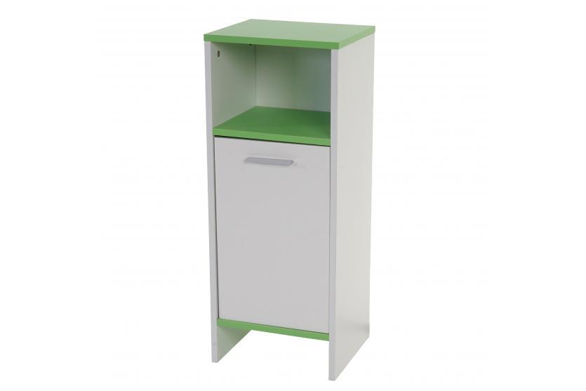 Badezimmer Set Arezzo, 2x Waschbeckenunterschrank Hochschrank Kommode ~  Weiß, Böden Grün