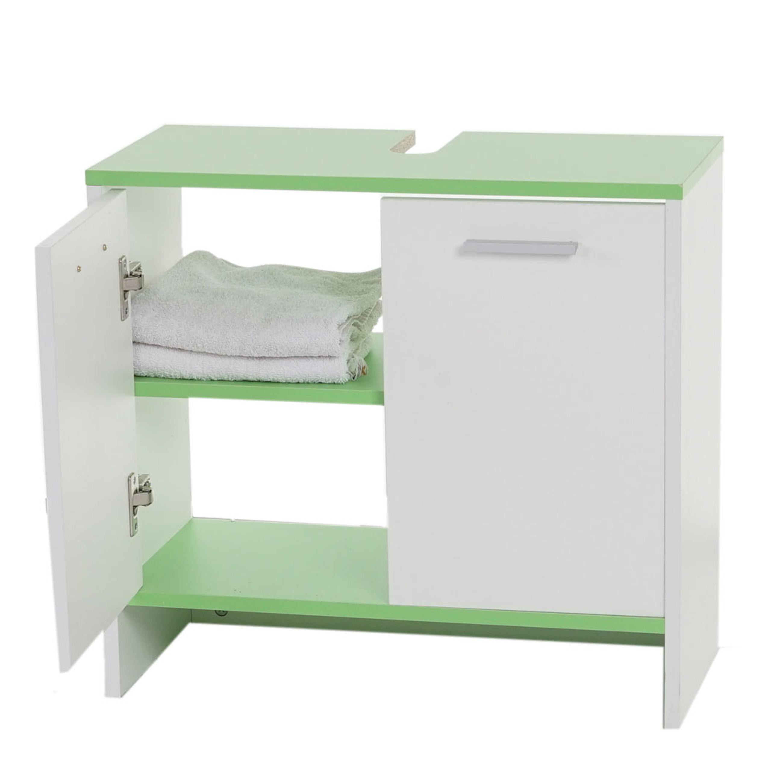 waschbeckenunterschrank arezzo badschrank 56x60x28cm wei b den gr n. Black Bedroom Furniture Sets. Home Design Ideas