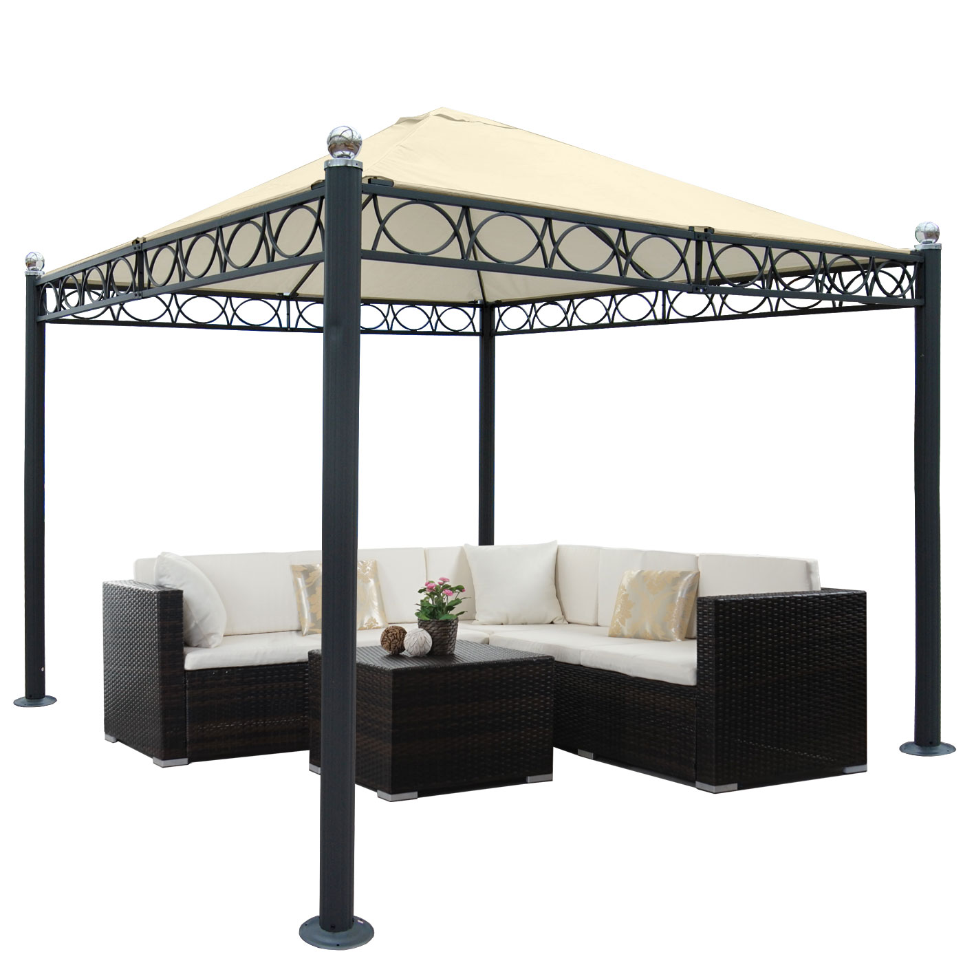 pergola belagua garten pavillon stabiles 10cm luxus alu. Black Bedroom Furniture Sets. Home Design Ideas