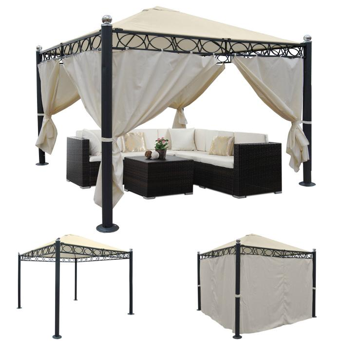pergola belagua garten pavillon stabiles 10cm luxus alu gestell 3x3m mit seitenwand. Black Bedroom Furniture Sets. Home Design Ideas