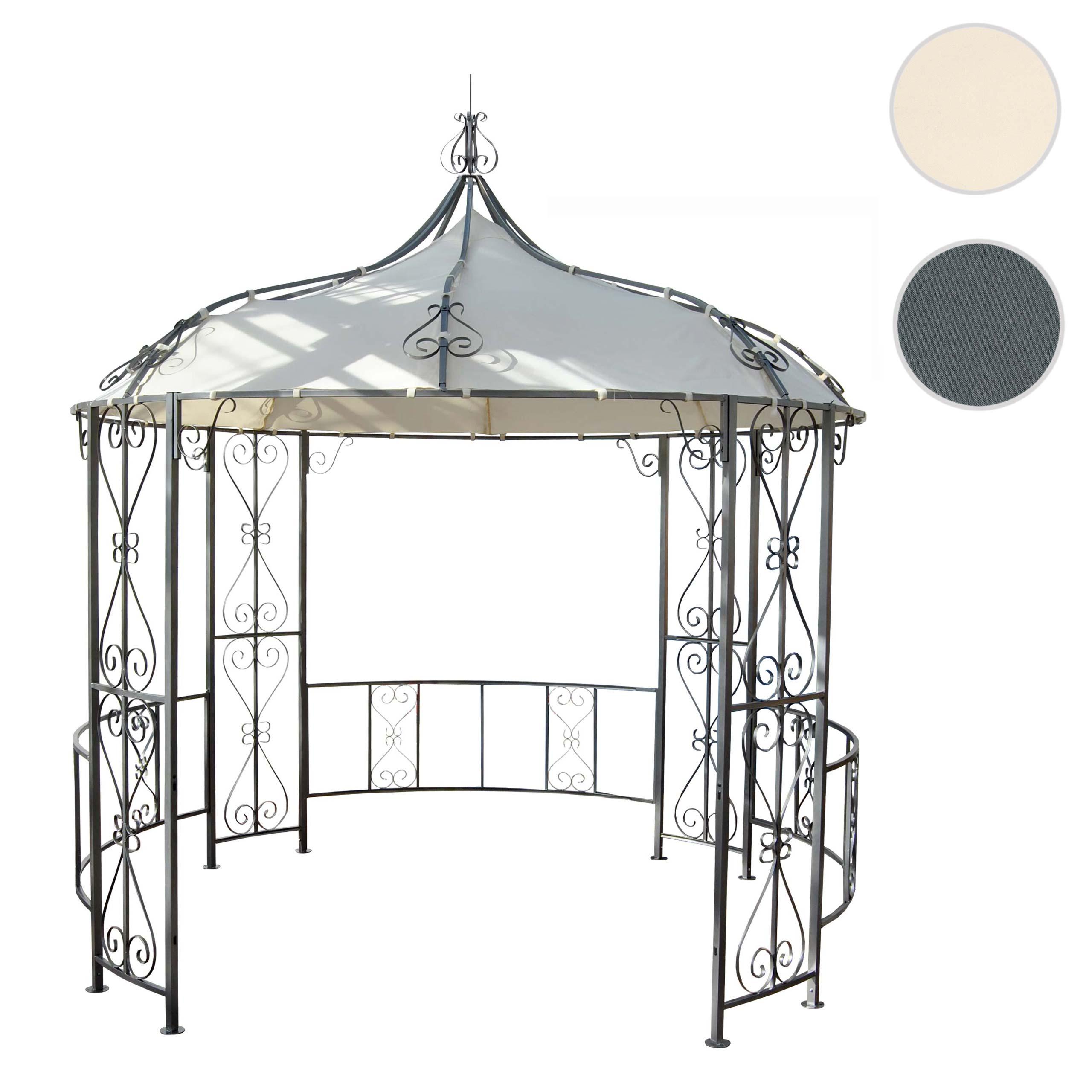 Mendler Pergola Almeria, Rundpavillon Garten Pavillon, stabiles Stahl-Gestell ~ Variantenangebot 45138+45481