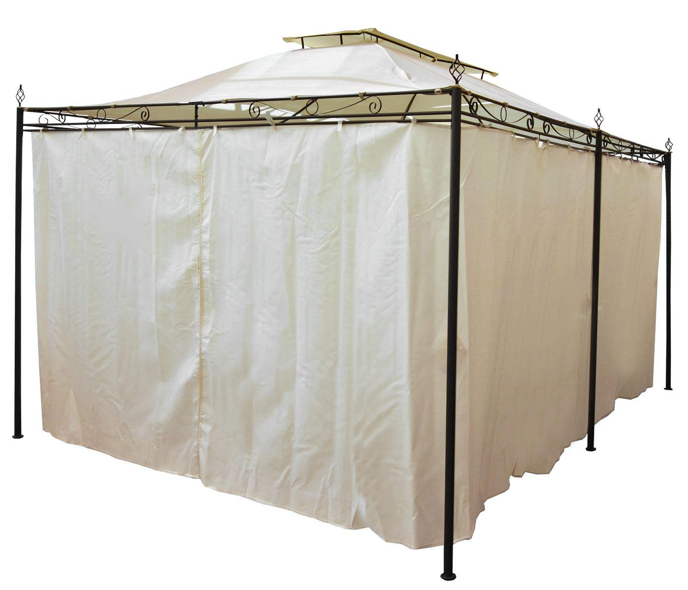 pergola mecina garten pavillon 4cm stahl gestell mit seitenwand 4x3m. Black Bedroom Furniture Sets. Home Design Ideas