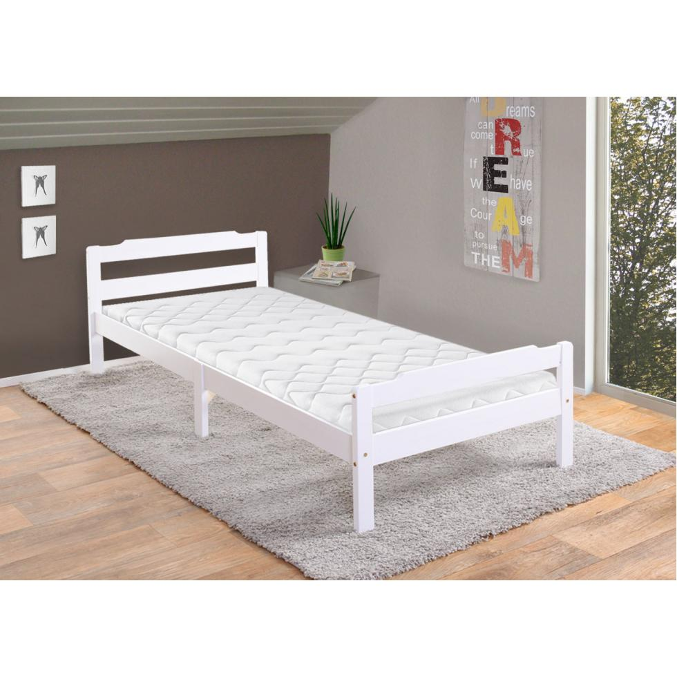 bett perth jugendbett kiefer incl lattenrost 90x200cm wei lackiert ebay. Black Bedroom Furniture Sets. Home Design Ideas