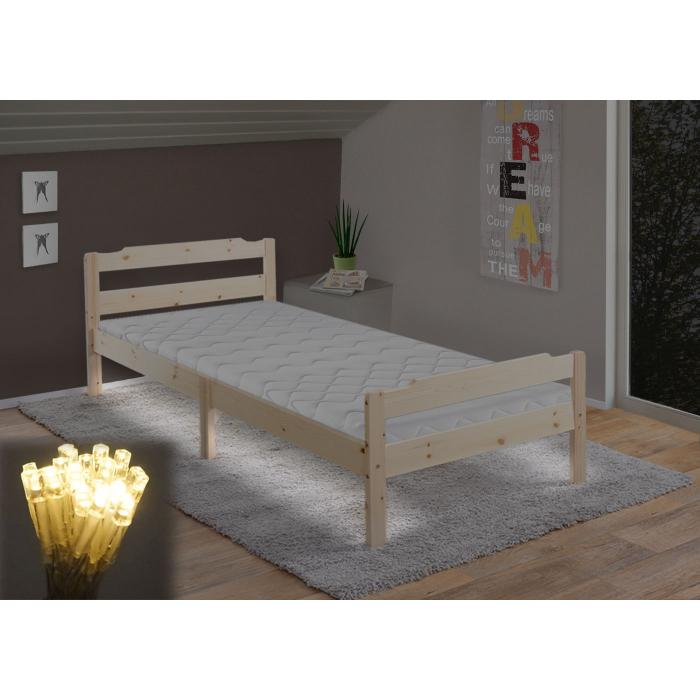 Bett Cairns, Jugendbett, Massivholz Kiefer incl. Lattenrost 90x200cm ~ natur lackiert, LED