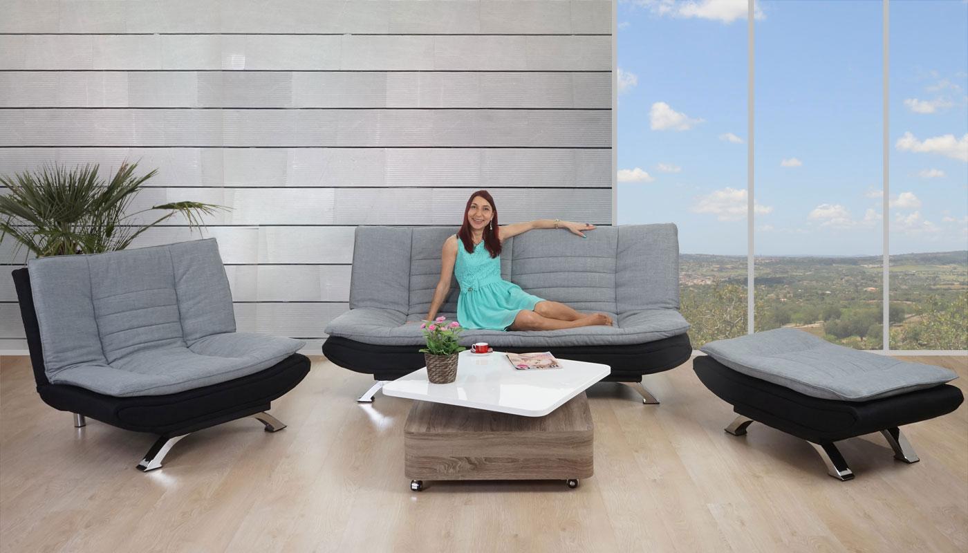 Anspruchsvoll Sessel Bettfunktion Galerie Von 2-1-1 Sofagarnitur Lissabon, Loungegarnitur Couchgarnitur, Textil Grau/schwarz