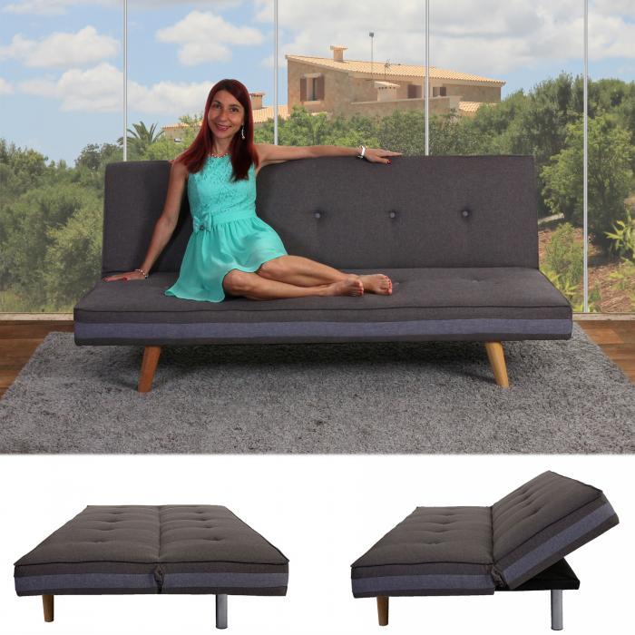 3er Sofa Herstal Couch Schlafsofa Gästebett Bettsofa Textil Grau