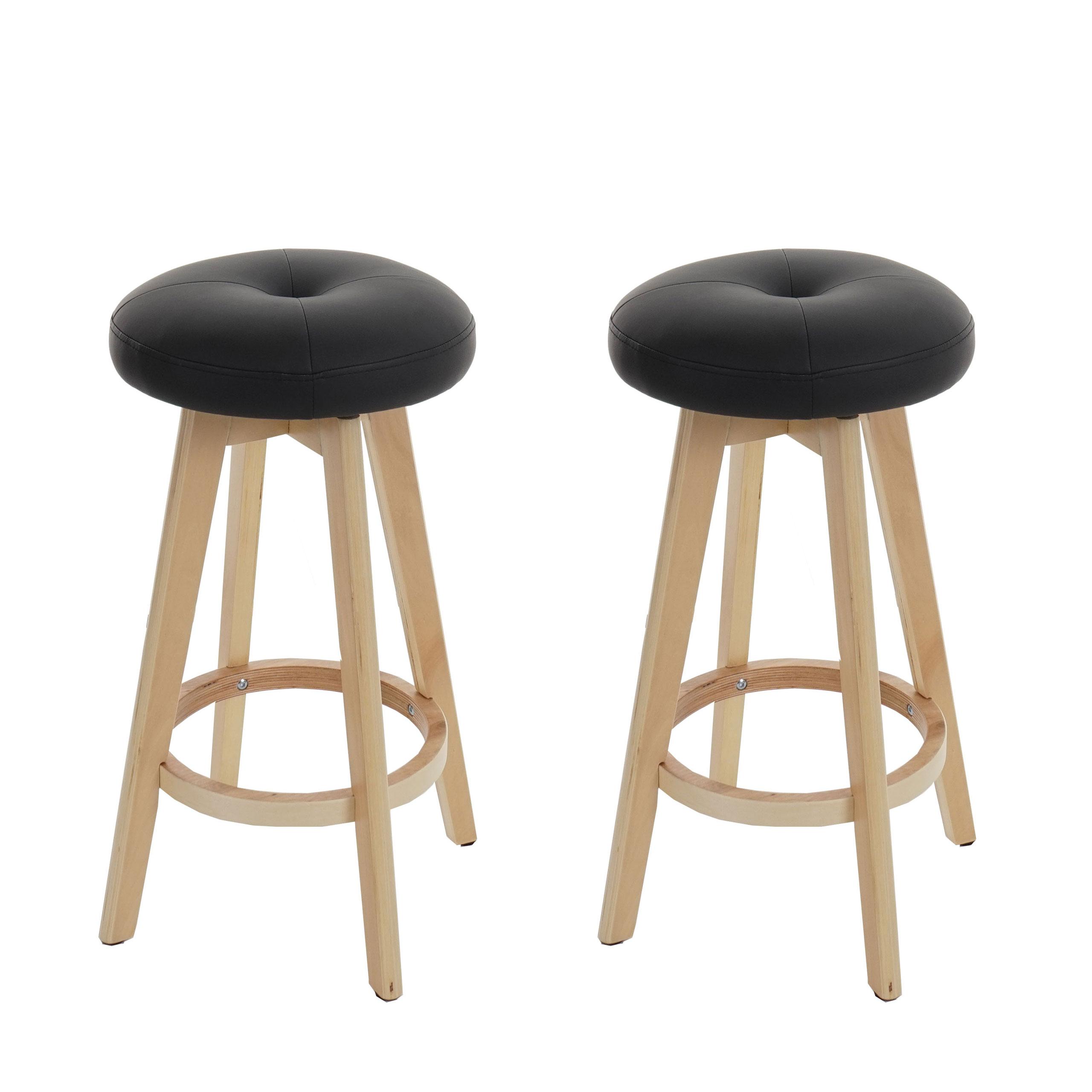 2x barhocker navan barstuhl tresenhocker holz kunstleder drehbar schwarz helle beine. Black Bedroom Furniture Sets. Home Design Ideas