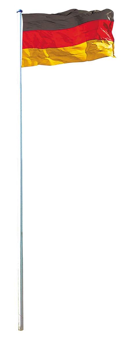 Mendler Fahnenmast inkl. Deutschlandfahne, Fahnenstange Mast + Flagge, 6,20m/6,50m ~ Variantenangebot 45474