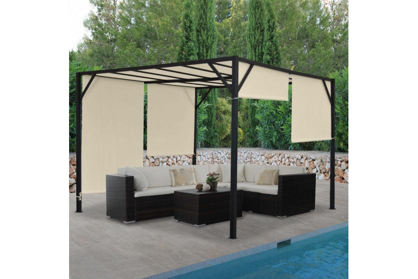 pergola beja garten pavillon stabiles 6cm stahl gestell schiebedach 4x4m ebay. Black Bedroom Furniture Sets. Home Design Ideas