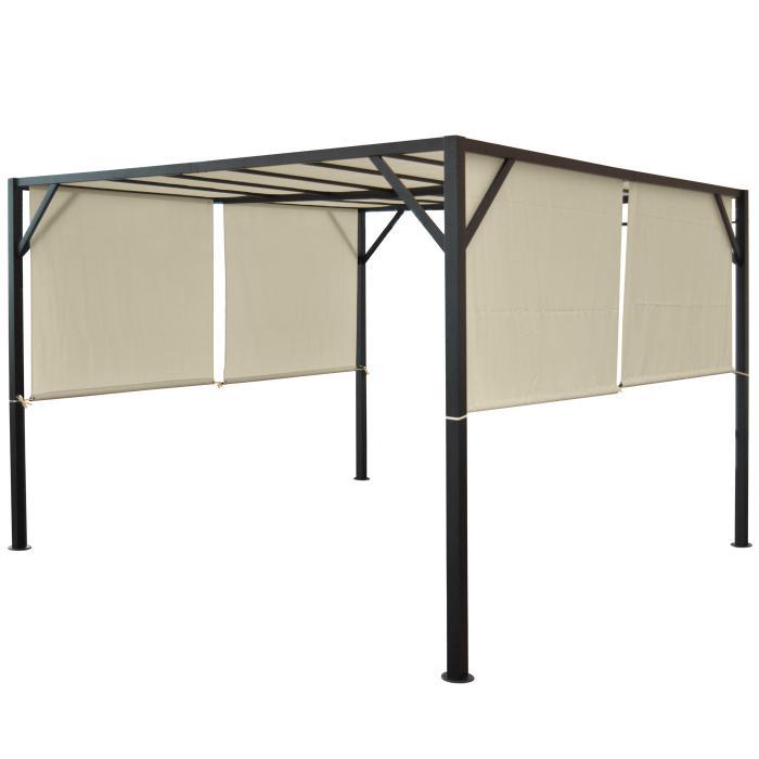 pergola baia garten pavillon terrassen berdachung stabiles 6cm stahl gestell schiebedach 3x3m. Black Bedroom Furniture Sets. Home Design Ideas