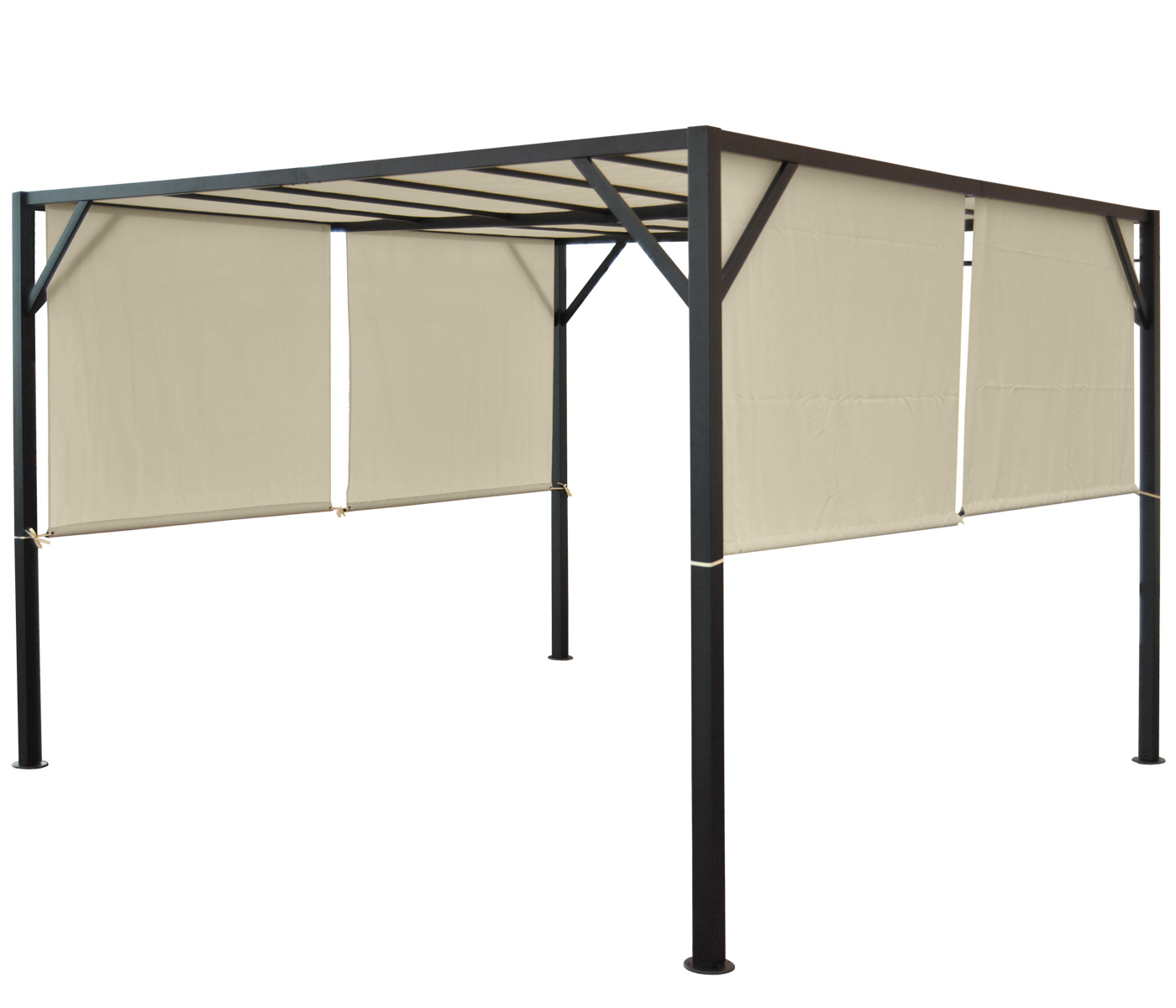 pergola baia garten pavillon 6cm stahl gestell schiebedach 3x3m 4x3m 4x4m ebay. Black Bedroom Furniture Sets. Home Design Ideas