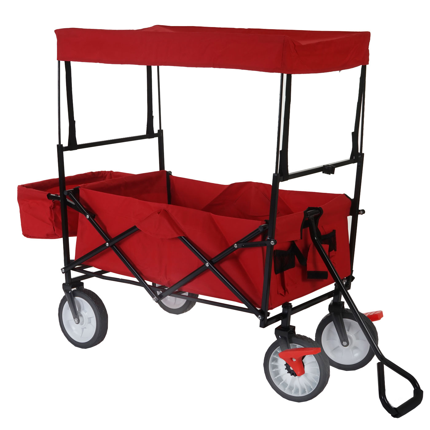 bollerwagen bury handwagen transportwagen inkl dach faltbar rot mit bremse ebay. Black Bedroom Furniture Sets. Home Design Ideas