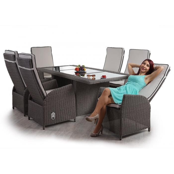 Luxus Poly Rattan Garnitur Badalona, Premium Alu Sitzgruppe Tisch + 6  Verstellbare Stühle ~ Grau