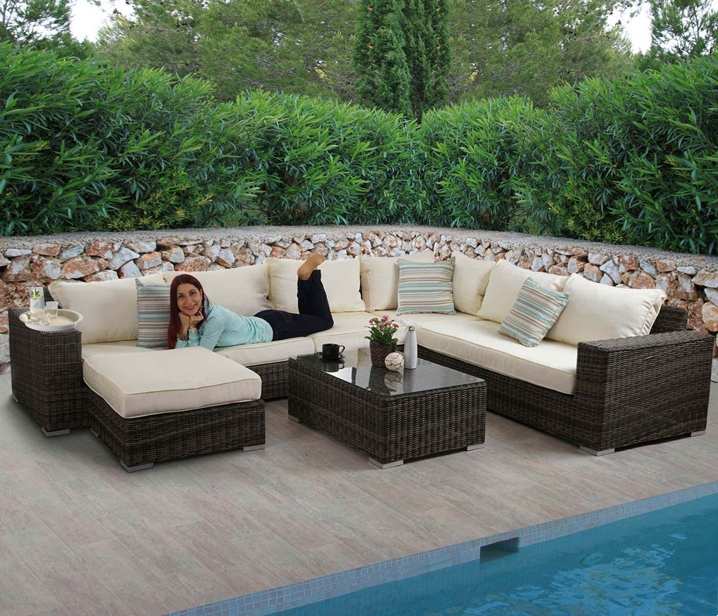 Luxus poly rattan sofa garnitur melilla lounge set for Lounge set rattan gunstig