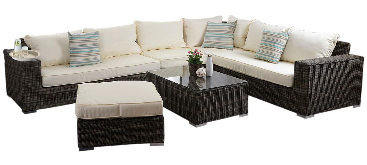 luxus poly rattan sofa garnitur melilla lounge set gartengarnitur alu gestell ebay. Black Bedroom Furniture Sets. Home Design Ideas