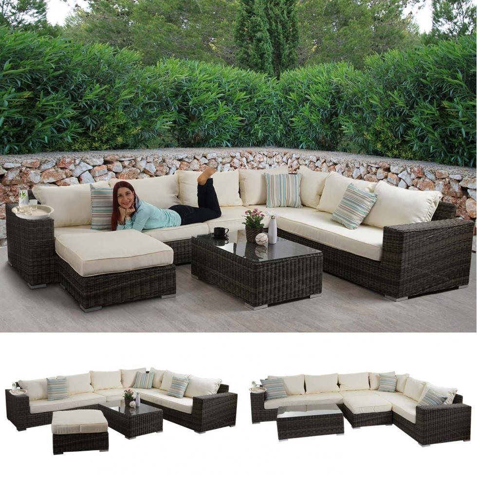 luxus poly rattan sofa garnitur melilla lounge set gartengarnitur alu gestell ebay. Black Bedroom Furniture Sets. Home Design Ideas
