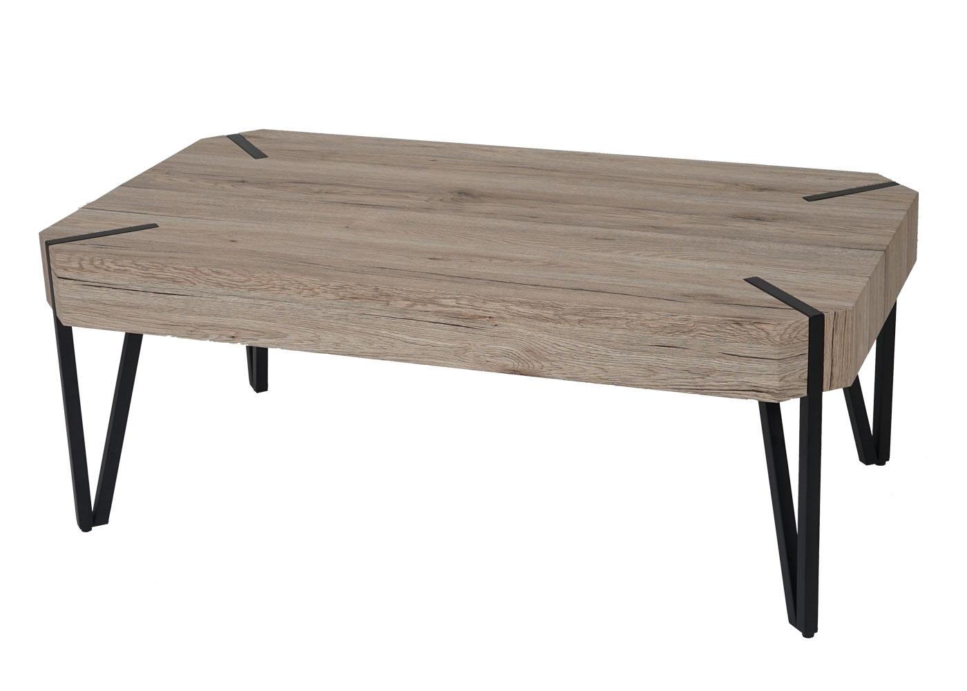 couchtisch kos t573 wohnzimmertisch fsc 43x110x60cm eiche optik metall f e ebay. Black Bedroom Furniture Sets. Home Design Ideas