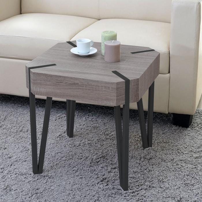couchtisch kos t574 beistelltisch 52x50x50cm fsc zertifiziert dunkle eiche dunkle metall f e. Black Bedroom Furniture Sets. Home Design Ideas