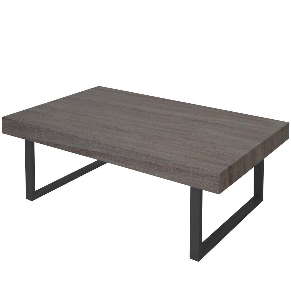 couchtisch genk h576 fsc 40x110x60cm dunkle eiche dunkle metall f e ebay. Black Bedroom Furniture Sets. Home Design Ideas