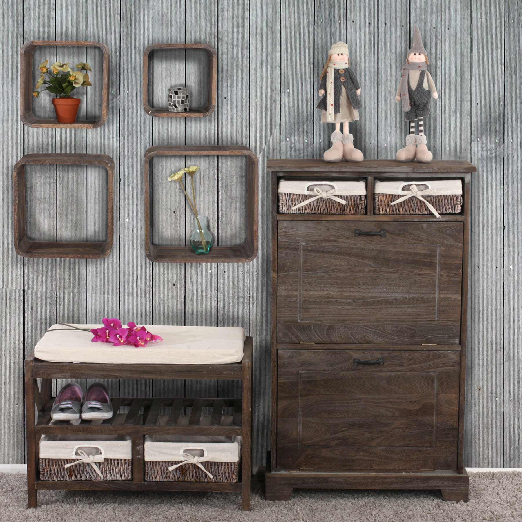 garderobe wandgarderobe mit spiegel wandhaken 180x65x7cm shabby look vintage wei. Black Bedroom Furniture Sets. Home Design Ideas