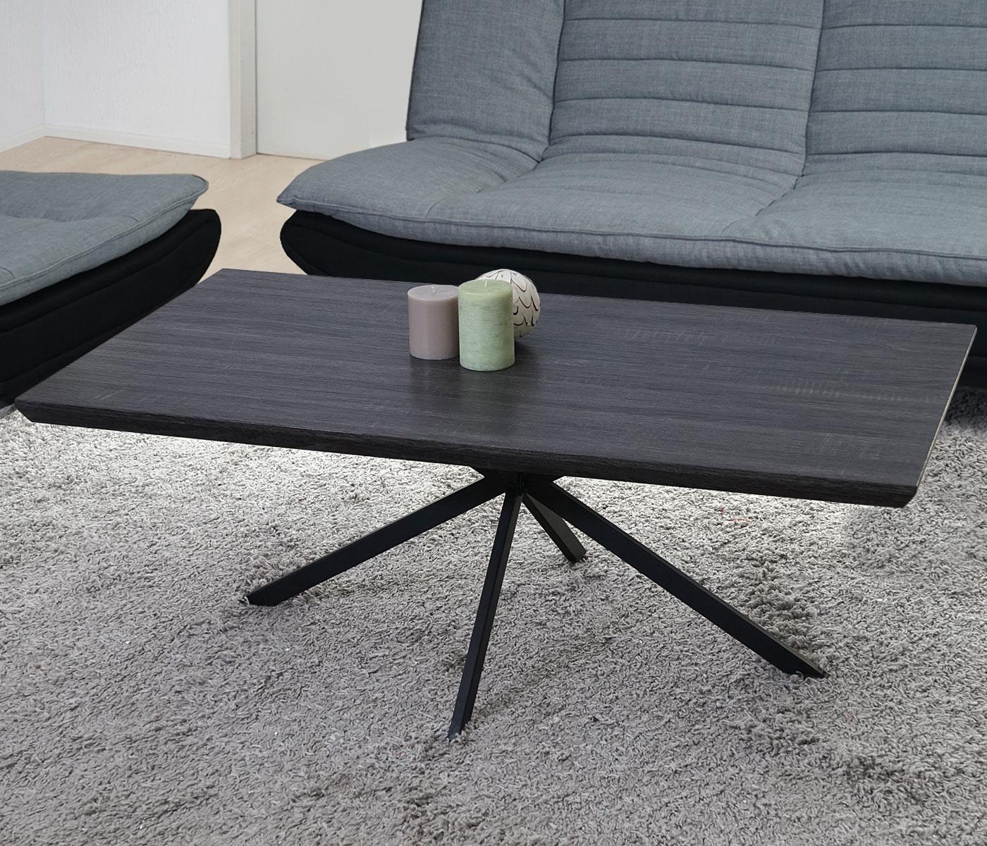 couchtisch kos t577 wohnzimmertisch fsc 40x110x60cm eiche optik metall f e ebay. Black Bedroom Furniture Sets. Home Design Ideas