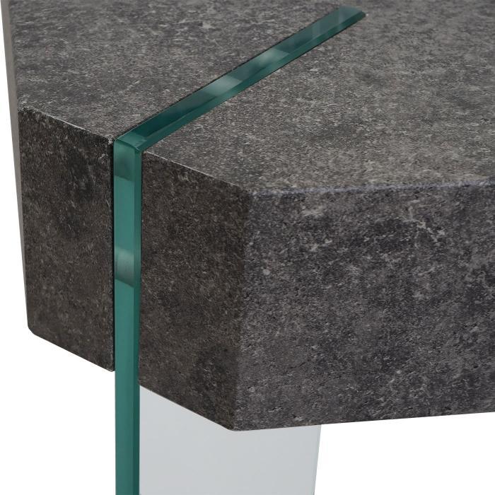 B ware couchtisch kos t578 wohnzimmertisch fsc 40x110x60cm beton optik glas f e - Beton wohnzimmertisch ...