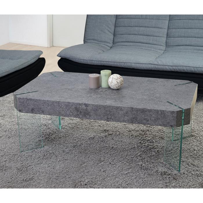 Kos T578, Wohnzimmertisch, Fsc 40X110X60Cm ~ Beton-Optik, Glas-Füße