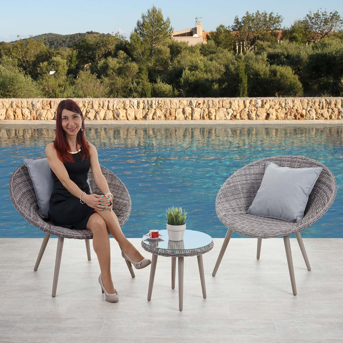 luxus poly rattan garnitur madrid premium lounge set gartengarnitur alu gestell naturgrau. Black Bedroom Furniture Sets. Home Design Ideas