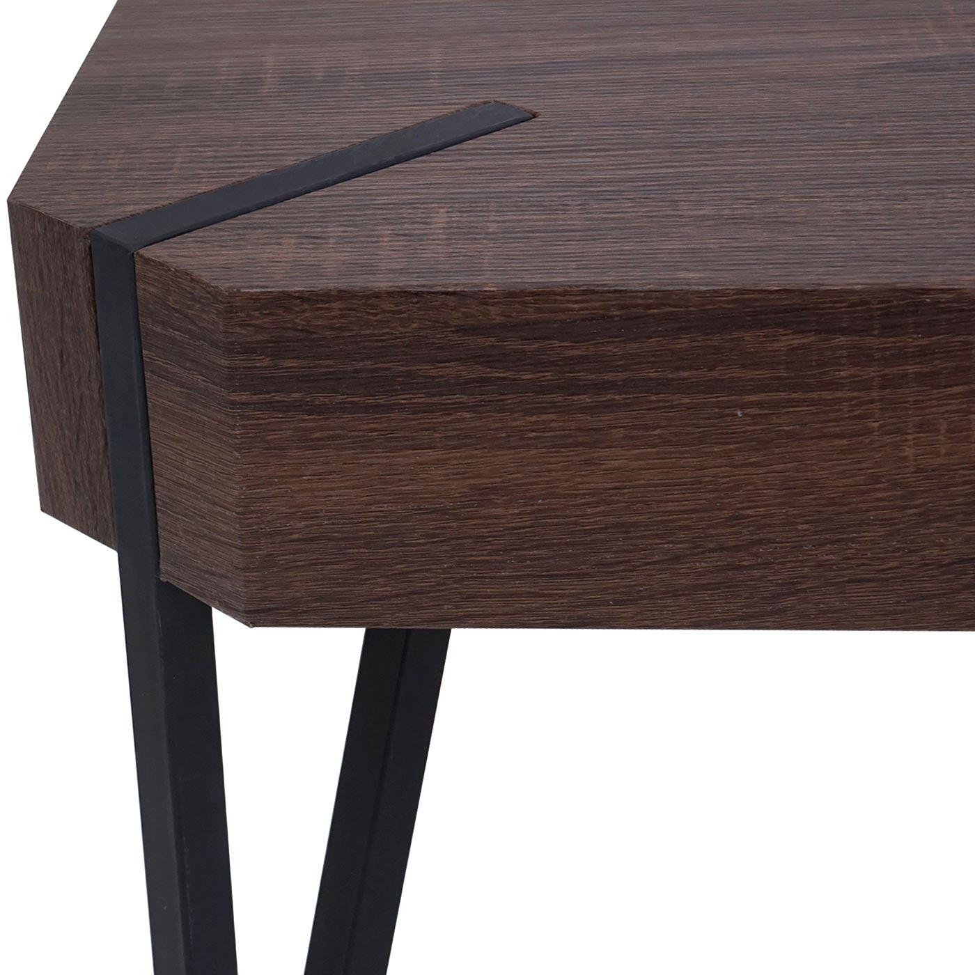 couchtisch kos t574 beistelltisch 52x50x50cm fsc zertifiziert braune eiche dunkle metall f e. Black Bedroom Furniture Sets. Home Design Ideas