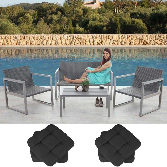 Rattan lounge anthrazit  1-1 Alu-Garten-Garnitur Split, Sitzgruppe Lounge-Set, Poly-Rattan ...