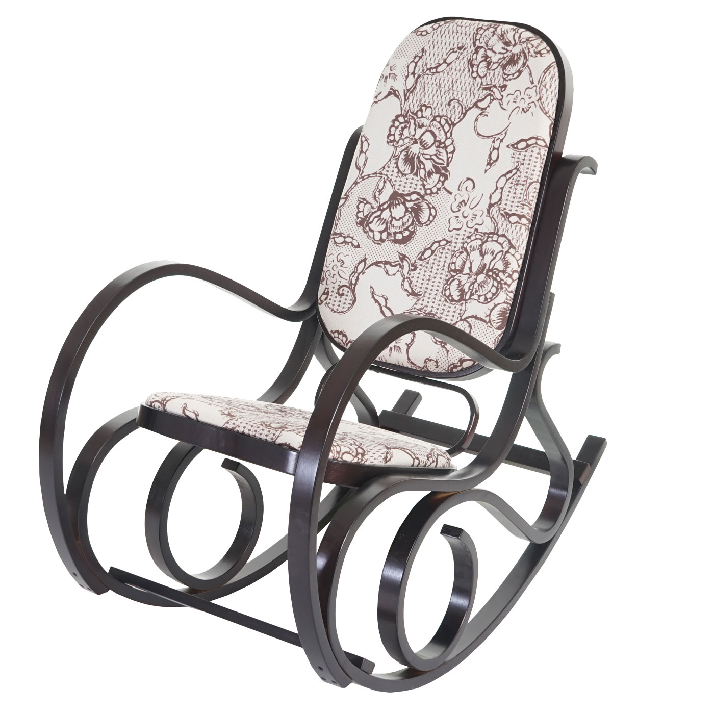 schaukelstuhl schwingsessel m41 aus holz jacquard braun. Black Bedroom Furniture Sets. Home Design Ideas