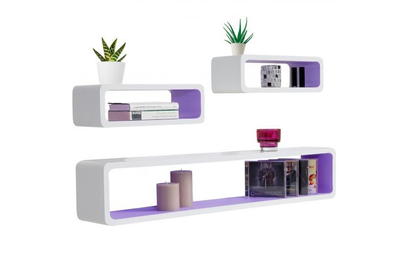 defekte ware 3x wandregal miami retro h ngeregal cube. Black Bedroom Furniture Sets. Home Design Ideas