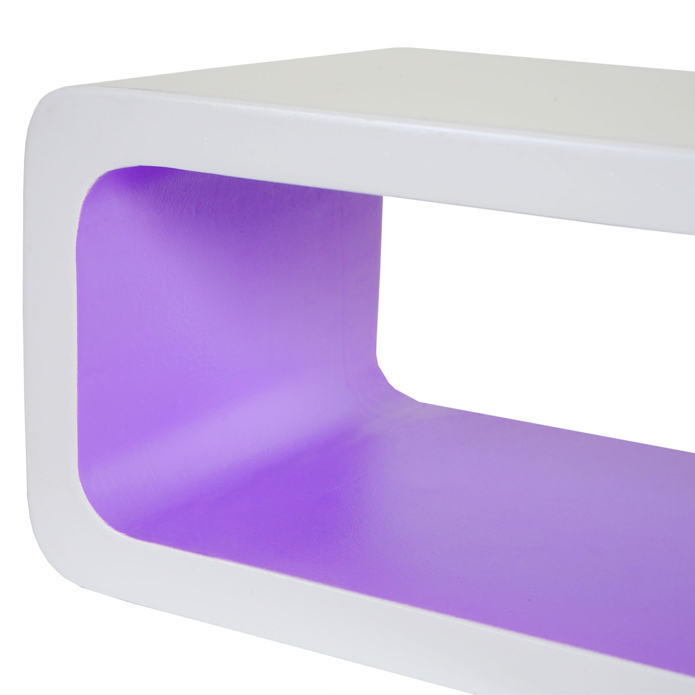 3x Wandregal Miami, Retro-Hängeregal Cube-Regal, bis 95cm ~ weiß/lila