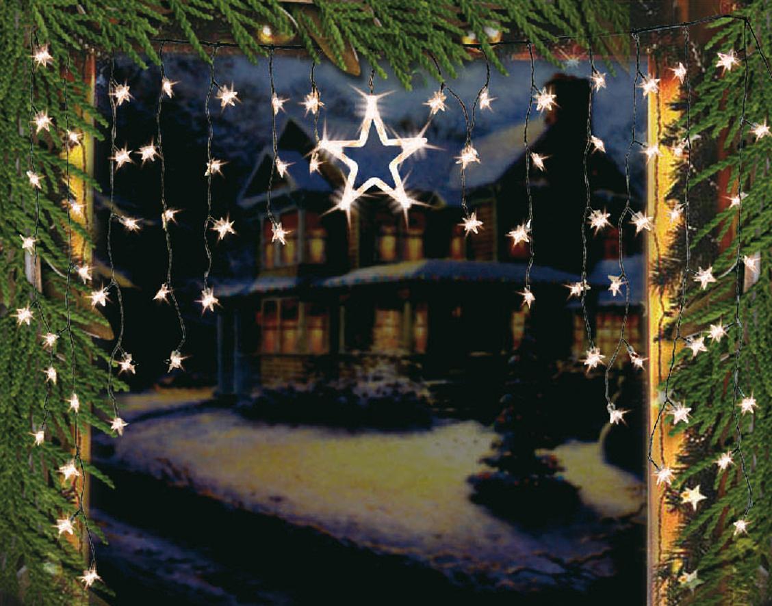 Mendler LED Lichtervorhang Sternenvorhang Lichterkette Sterne Deko ~ Variantenangebot 32237